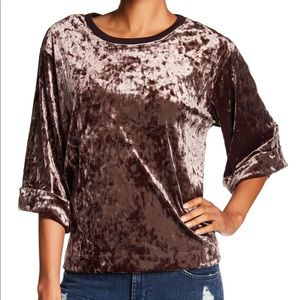 Bershka suede cropped top long sleeve size small